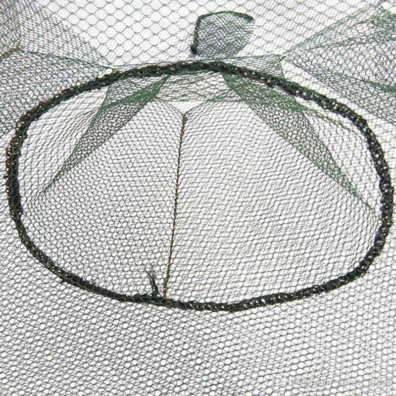 Dobrável automático 6 8 furo de pesca líquido peixes camarão gaiola nylon caranguejo dobrável armadilha de peixes net lançamento acessórios de pesca de pesca gaiola de rede