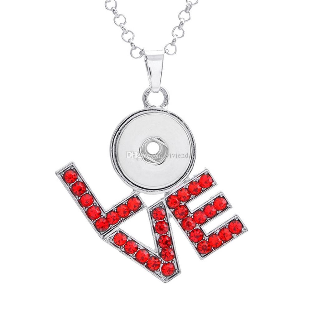 LOVE Snap Button LOVE con ciondolo con strass gioielli fai da te Fit 18MM Noosa Chunks