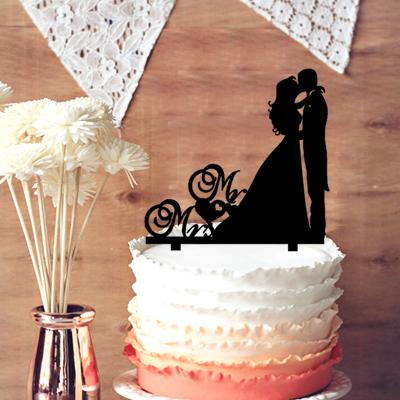 Kissing Couple Silhouette Wedding Cake Topper Acrylic Mr And Mrs