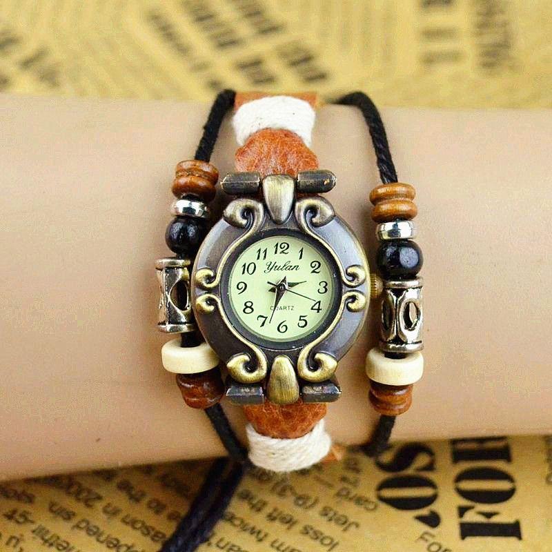 Hot Sale Women Retro Leather Butterfly Quartz Wrist Bracelet Watch Optional New