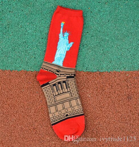 Art Style Sock Women MEN 100% Cotton Vintage Statue of Liberty Mona Lisa Starry Sky Kiss Socking Lovers Middle tube socks