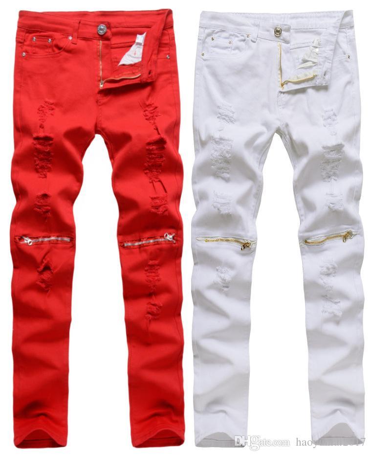 Acquista Jeans Moda Uomo Strappato Biker Jeans Cotone Rosso Nero Bianco Slim  Fit Jeans Da Uomo Skinny Hole Denim Pantaloni Da Jogging A  20.31 Dal ... a798c8e22ea6