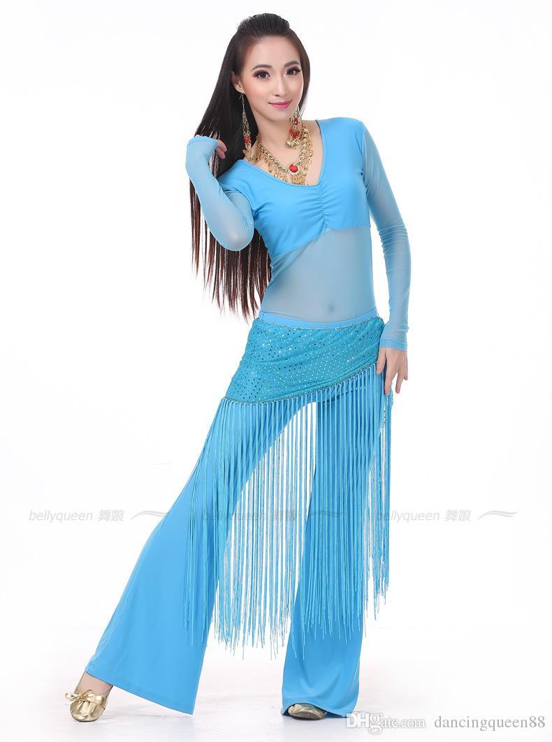 2018 Conjunto de traje de danza del vientre 3PS TopPants profesionalesPañuelo de cadera Vestido indio Señora Danza del vientre Ropa de baile Práctica / Rendimiento