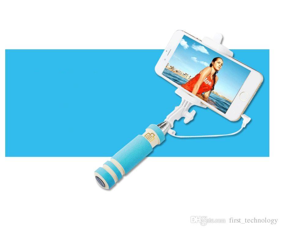 미니 접이식 자기 스틱 모노 포드 유선 셀카 스틱 케이블 확장 가능한 내장 셔터 스틱 아이폰 5 개 6 7 Samsungxiaomi 스틱 X 8