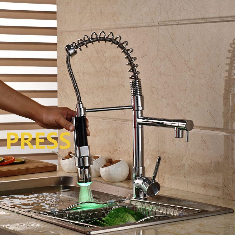 Wholesale And Retail Luxury Chrome Brass Kitchen Faucet LED Spout Swivel Sprayer Vessel Sink Mixer Tap Single Handle