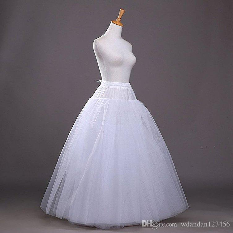 2017 New Women's White A-line Hoopless Petticoat Crinoline Underskirt Slips Wedding Accessories Floor Length Not custom 0222