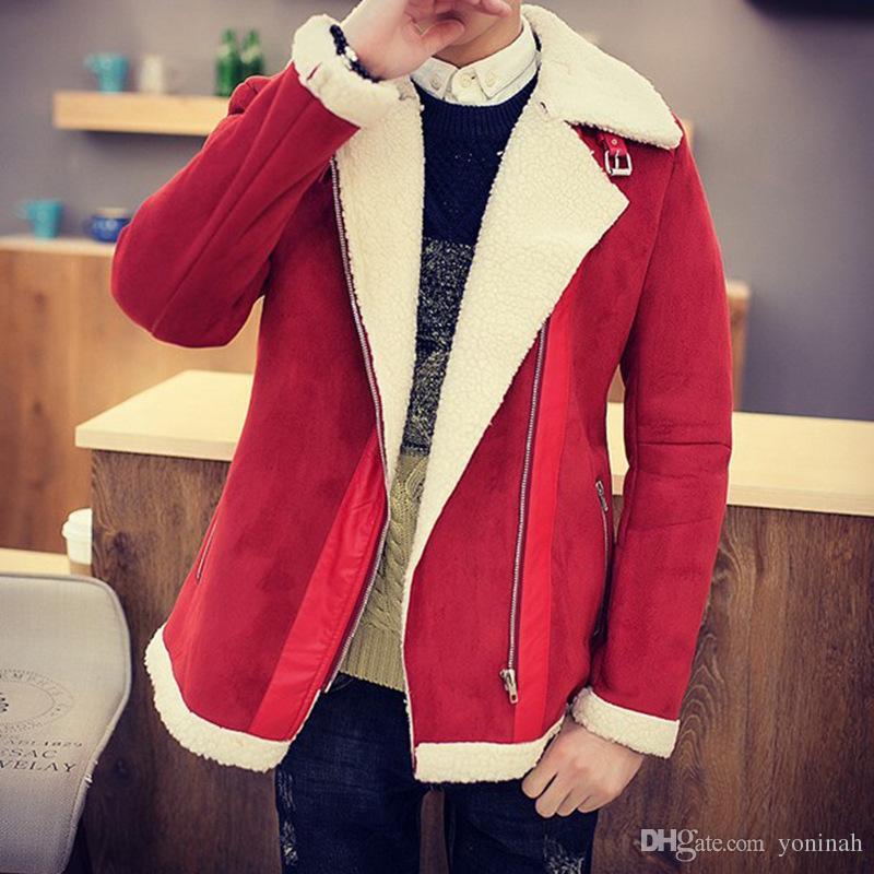 Winter Coat Faux Fur Suede Jacket Sid Zip Lamb Wool Mens Sheepskin Coat Fall-Shearling