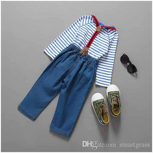 Outfits Boys Cotton Suit Spring Autumn Baby Boy Basque Shirts and Jeans Suspenders Baby Boy Clothe Sets 17090601