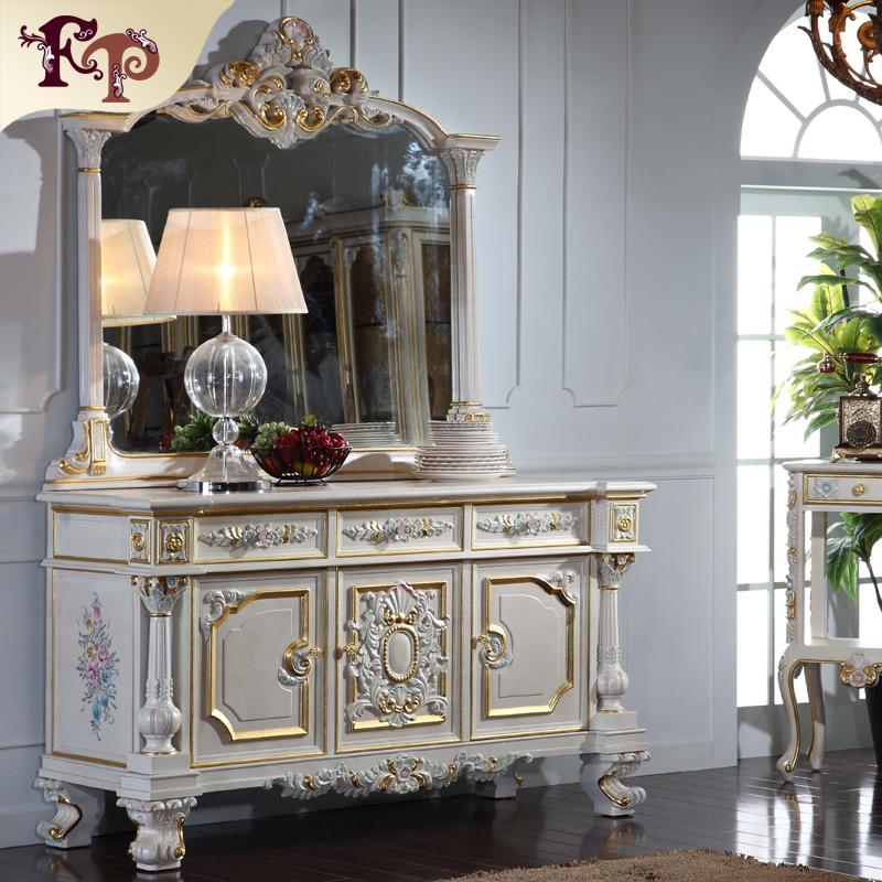 French Royalty classic furniture - baroque handcraft cracking paint floor cabinet and decoration mirror