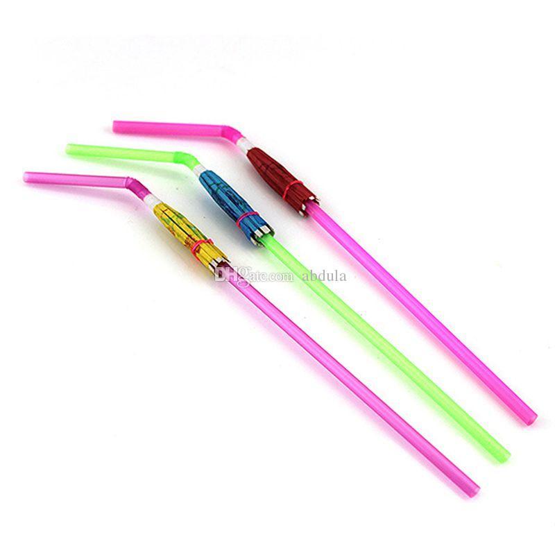 Günstige Plastic Straw Umbrellas Getränke Straw Picks Cocktail Sonnenschirme Schirme Getränke Picks Hochzeit Event-Party Supplies Feiertage Luau Sticks