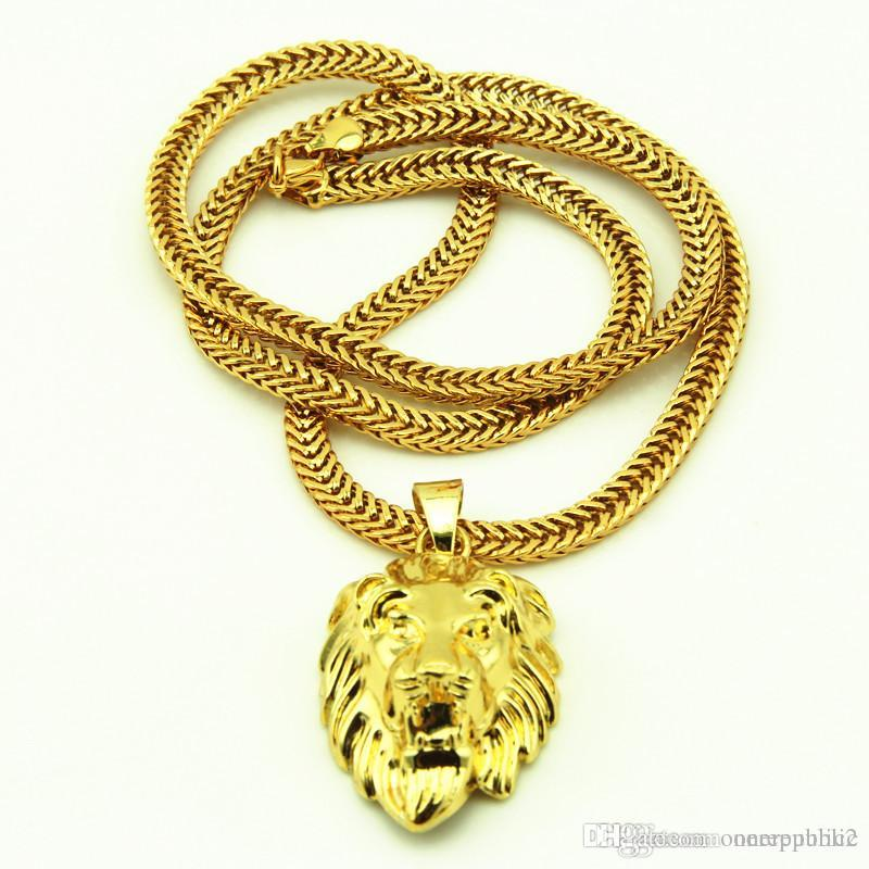 Wholesale lion head pendants necklace high quality fashion hiphop wholesale lion head pendants necklace high quality fashion hiphop 70cm long 14k gold plated rock statement necklace gold chain men jewelry free ship blue aloadofball Choice Image