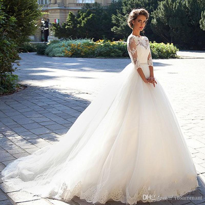 Старинные кружевные бальные платья свадебные платья 2020 Milla Nova три четверти рукава чистой шеи тюль свадебные платья с покрытыми кнопками