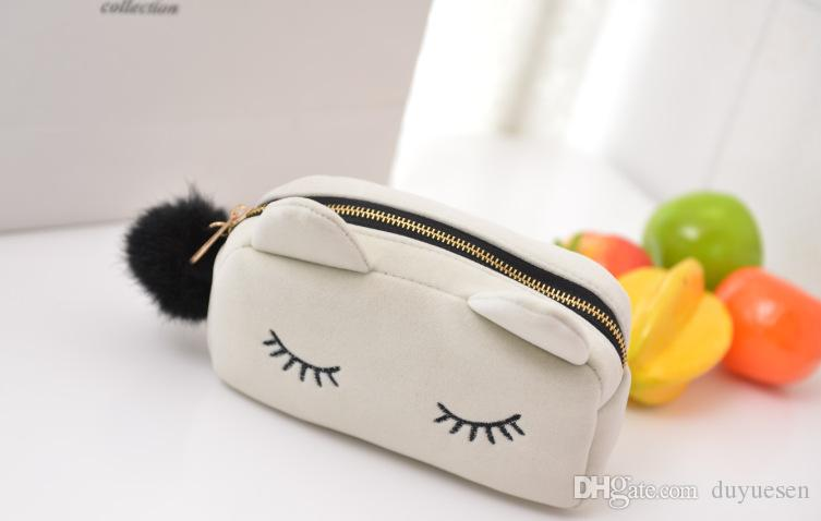 Wholesale lovely lady love fashion velvet kitty cosmetic bag clutch purse