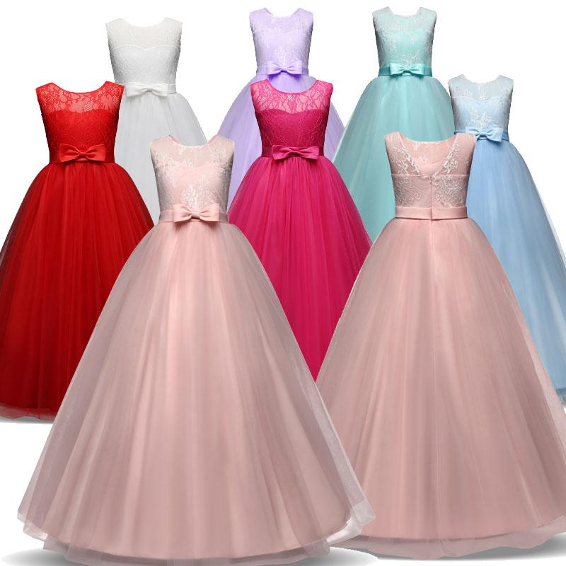 Long Gown Children Lace Princess Girl Dress for Wedding Birthday ...