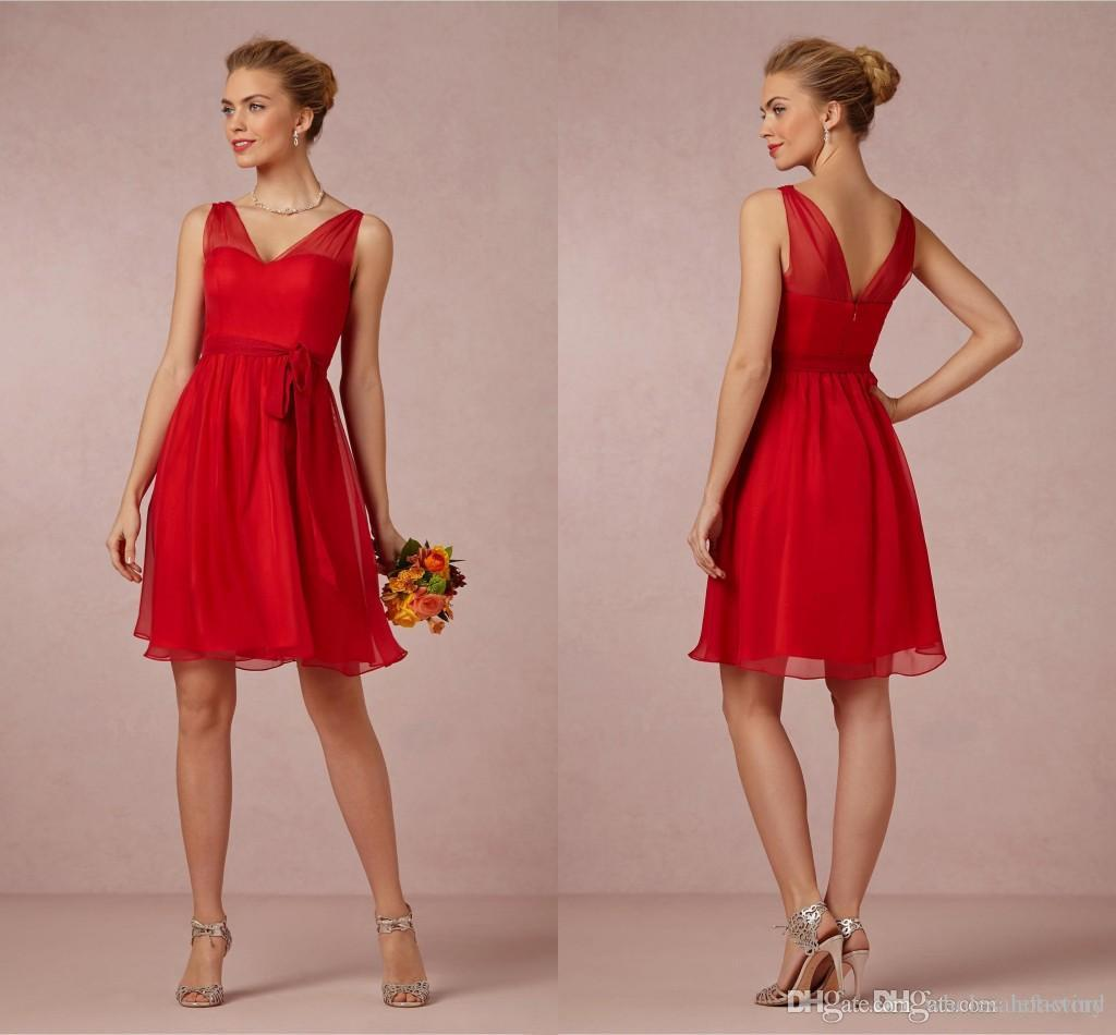 Cheap Short Red A Line Bridesmaid Dresses V Neck Chiffon Mini ...