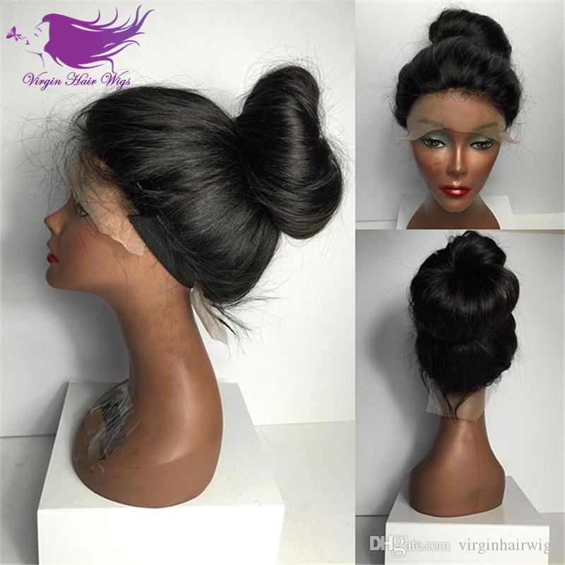 Top Quality High Ponytail Full Lace Wigs Silky Straight Human Hair Lace  Front Wig Affordable Brazilian Full Lace Wigs Can Do High Ponytail  Freetress Wigs ... b1750a539562