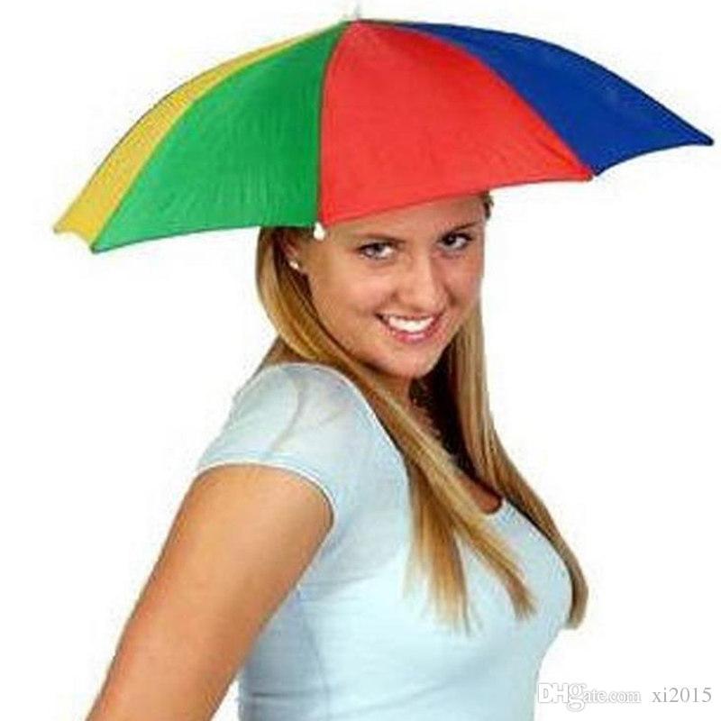 Pieghevoli adulti Outdoor Sun Ombrella Hat Golf Pesca Camping Ombra Spiaggia Copricapo Cap Cappelli testa LLFA