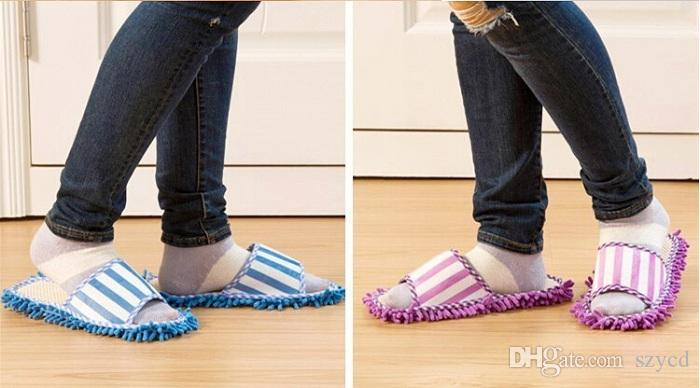 Polyester Microfiber Solid Dust Cleaner Cleaning Mop Slipper House Bathroom Floor Shoes Cover Lazy Tool Home Supplies