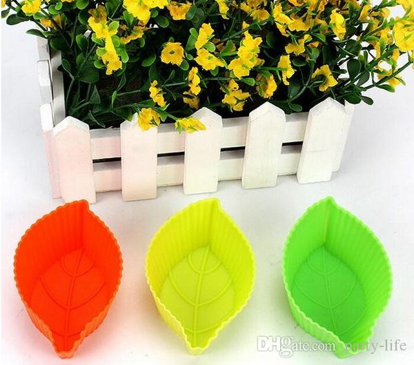 1000pcs/lot, Silicone Cupcake Cases leaf Shaped Cake Baking Molds Cup Set Kitchen Craft Tool Bakeware Pastry Tools Cake Mold
