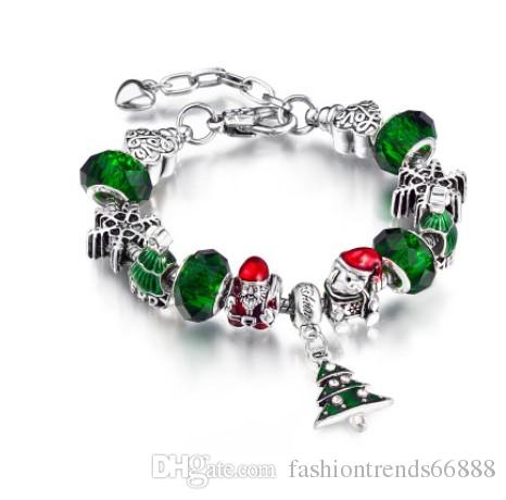 pandora style 2017 silver green crystal bead christmas father bear tree dangle bracelets with charms snake chain diy charm bangle bracelet charm jewelry