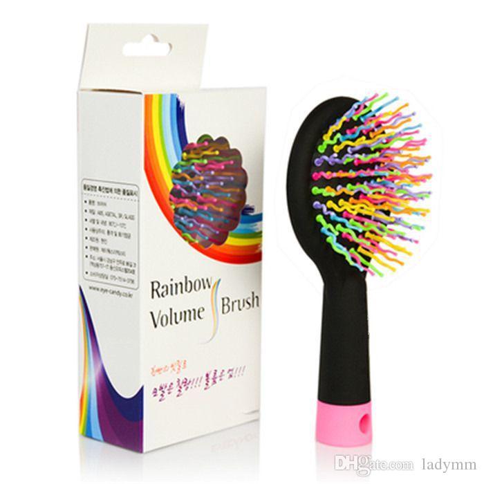 South Korea Rainbow Volume Anti-static Magic Detangler Hair Curl Straight Massage Comb Brush Styling Tools With Mirror