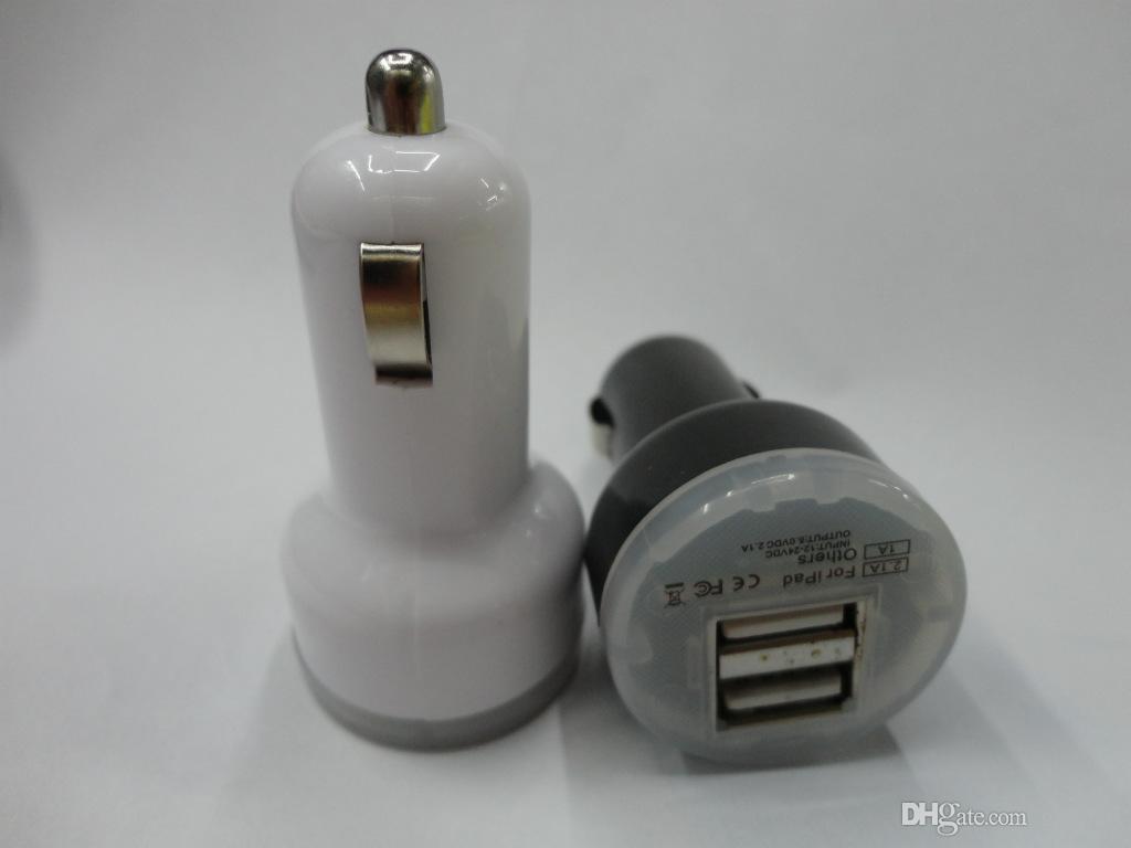 Автомобильное зарядное устройство Автомобильный адаптер DC 2 USB Автомобильное зарядное устройство Dual USB 2-портовый разъем питания 5 В 2.1A / 1A для iPhone для iPad