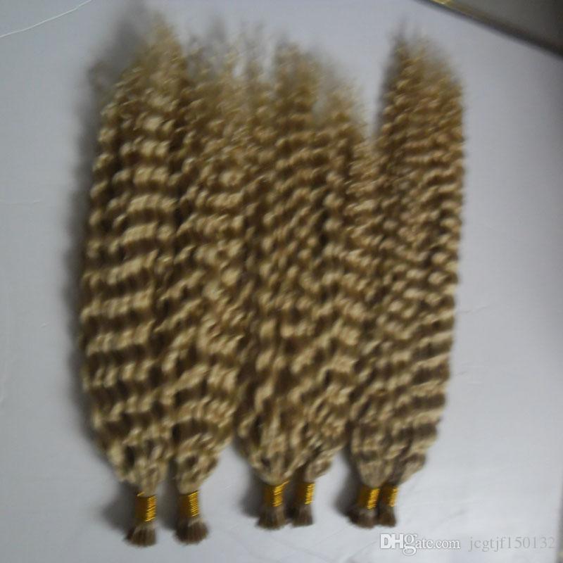 100g / vertentes 3 pacotes Remy Hair Extensions queratina I Tip extensões do cabelo loiro brasileira Kinky Curly extensões do cabelo humano queratina