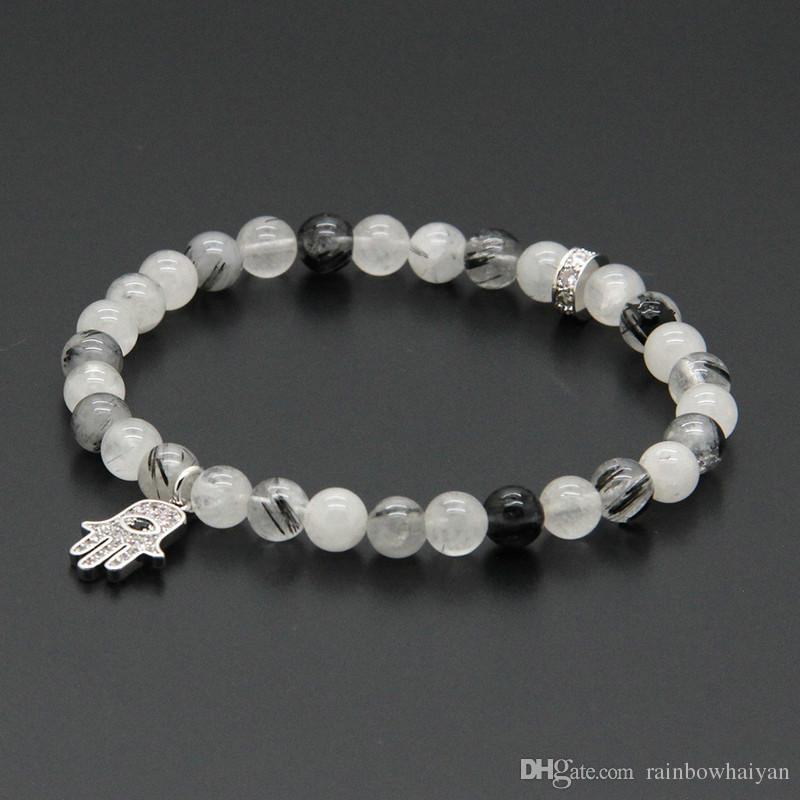 Оптовая 10шт/лот 6 мм натуральный черный рутиловый кварц камень с микро инкрустация Цирконами Фатима Хамса руки кулон браслеты