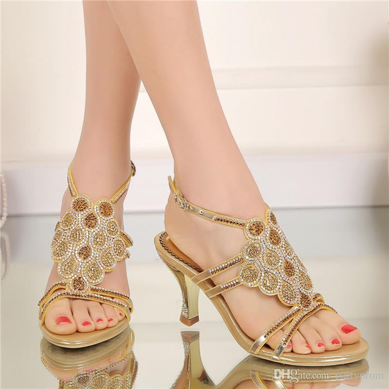 Ankle Strap Sandals High Heel Open Toe Shoes Rhinestone Bridal Wedding Shoes Plus Size Party Prom Dance Shoes Gold Silver