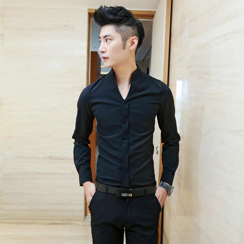 5d2941d8fb82 2019 Wholesale 2017 New Arrival Men Fashion Shirts Slim Fit Collarless Dress  Shirt Long Sleeve Skinny Casual Tops From Viviant, $34.8 | DHgate.Com