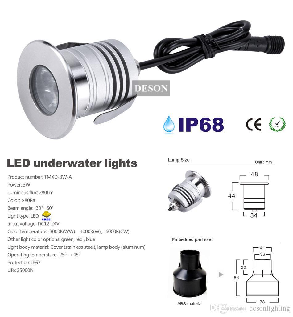 Lumière sous-marine de la lumière sous-marine de l'acier inoxydable IP68 LED 12V 3W Lampe souterraine de basse tension de l'éclairage extérieur de paysage de la lumière LED de piscine