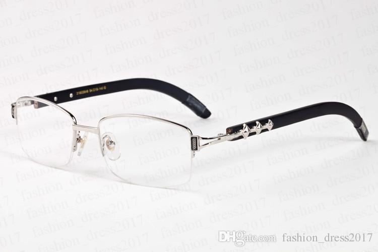 Original Holz Sonnenbrillen für Männer 2020 neue Art und Weise Sport Herren Büffelhorn Sonnegläser Full-Frame-Halb randlos schwarz braun transparent Linse