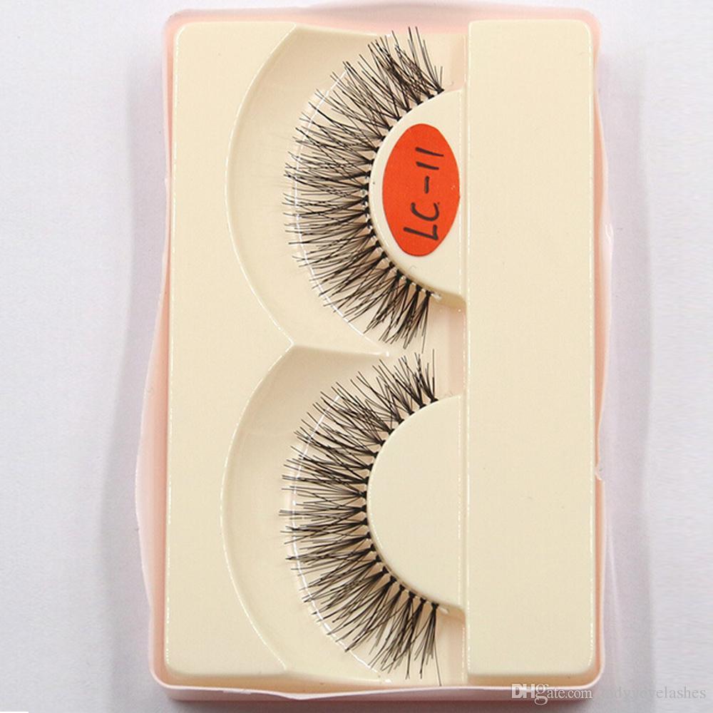 LC-11 747 faux Human Hair False Eyelash Fashion Lash Blink Black Strip Fake Lashes faux human hair false lashes