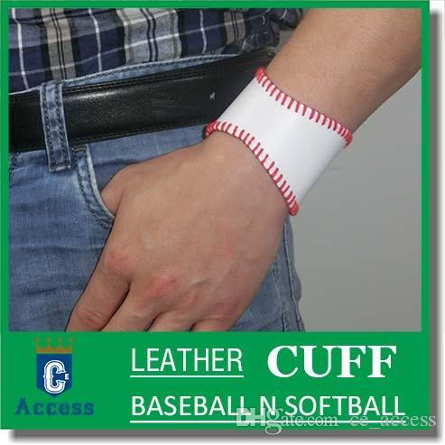 2017 Softball Baseball Leather Wristband Bangle Cuff Bracelet