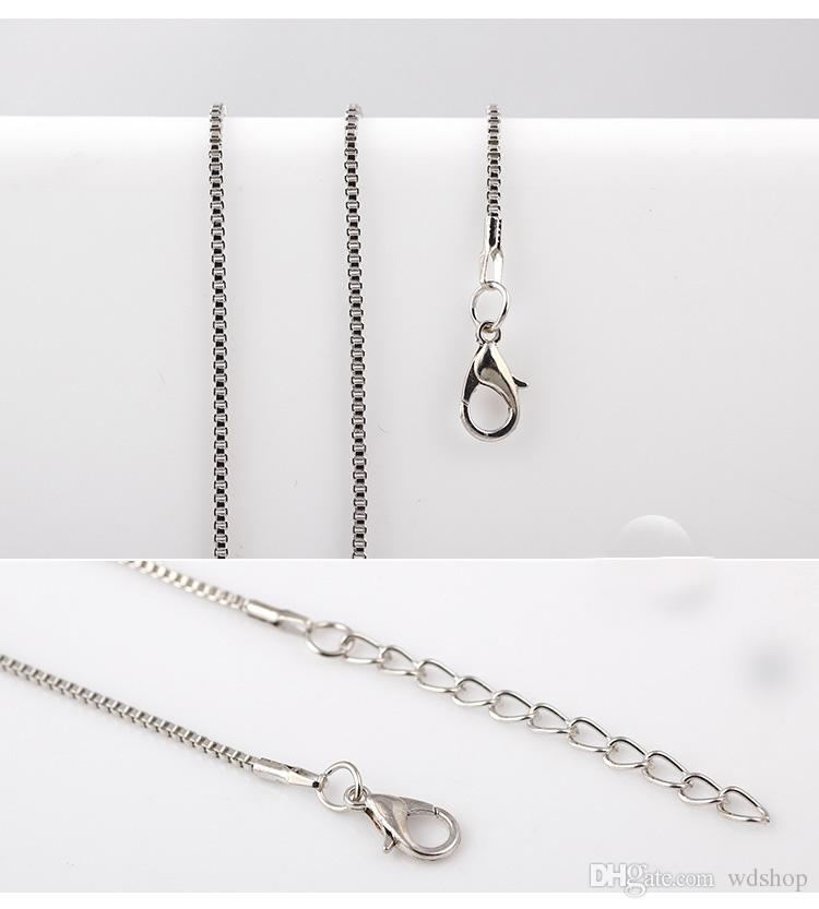Silver Gold Rose Gold Gun Black Box Chain Necklace 65cm Rolo Chain Necklace For Living Glass Floating Locket Pendant