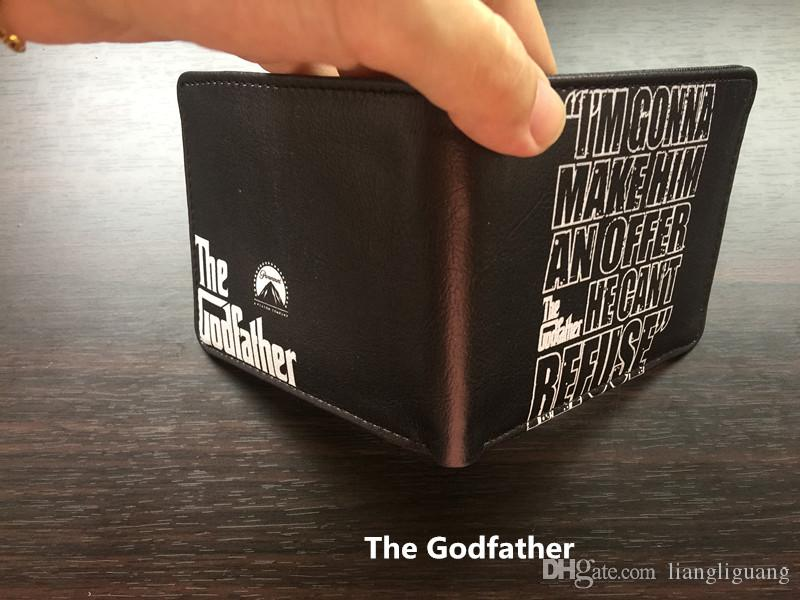 Classic Movie The Godfather Le Parrain Anime Short Wallets with Card and Photo Holder Bifold Purse for Men and Women