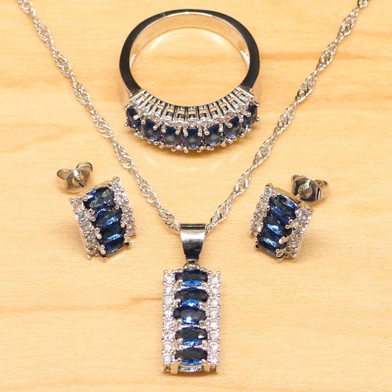 Natural azul cúbico Zirconia blanco CZ conjunto de joyas de plata de ley 925 joyas pendiente / colgante / collar / anillo