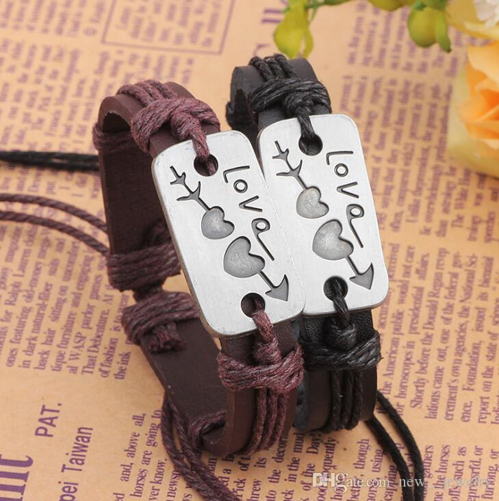 10 Styles Adjustable Leather Band Bracelet Fashion Jewelry Jesus Love Heart Cross Believe Labels Charm Bracelets Bangle Cuff for party gift