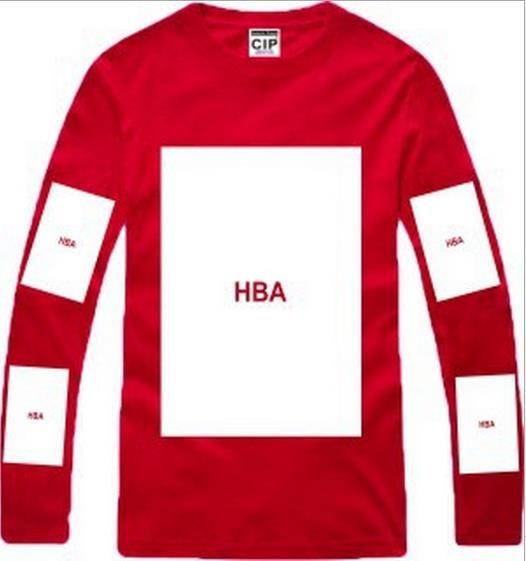 HBA caliente! Camisetas para hombre moda 2016 para hombre Ropa capucha por air hba x been trill kanye west manga larga hip hop camiseta de los hombres