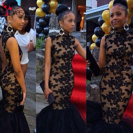 I vestiti da promenade sexy della sirena del merletto del nero africano 2016 hanno scolpito le donne convenzionali del partito di sera delle donne di Fishtail Backless