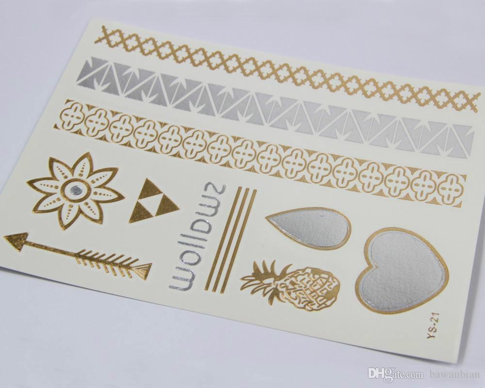 Yeni 9 Stilleri Çeşitli Metalik Geçici Dövme Altın Gümüş Takı Makyaj Sticker Vücut Sanatı Geçici Dövmeler