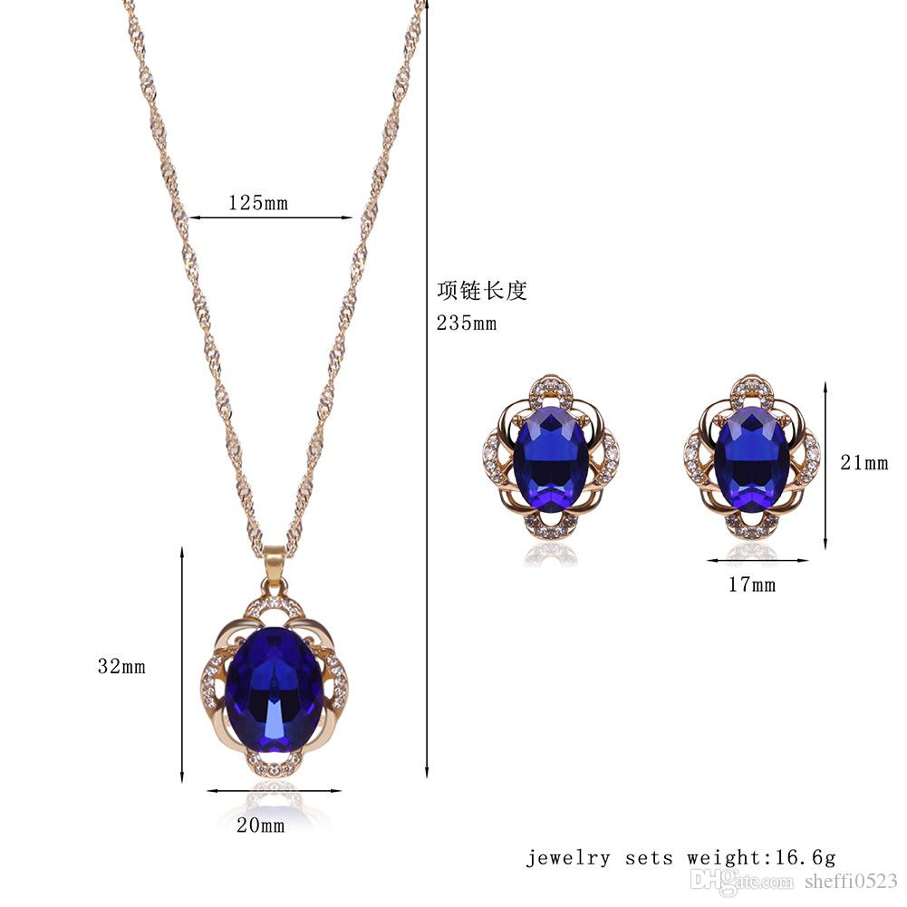 Fashion 18kgp Crystal Jewelry Sets High-Grade Necklace Set For Wedding Jewelry Min Order 61152235