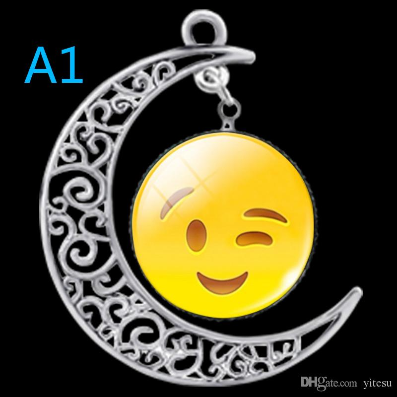 Wicca Emoji Emoticons moon necklace 2016 Fashion Chain Necklace Cabochon Image Statement Necklaces Crystal Jewelry for Women