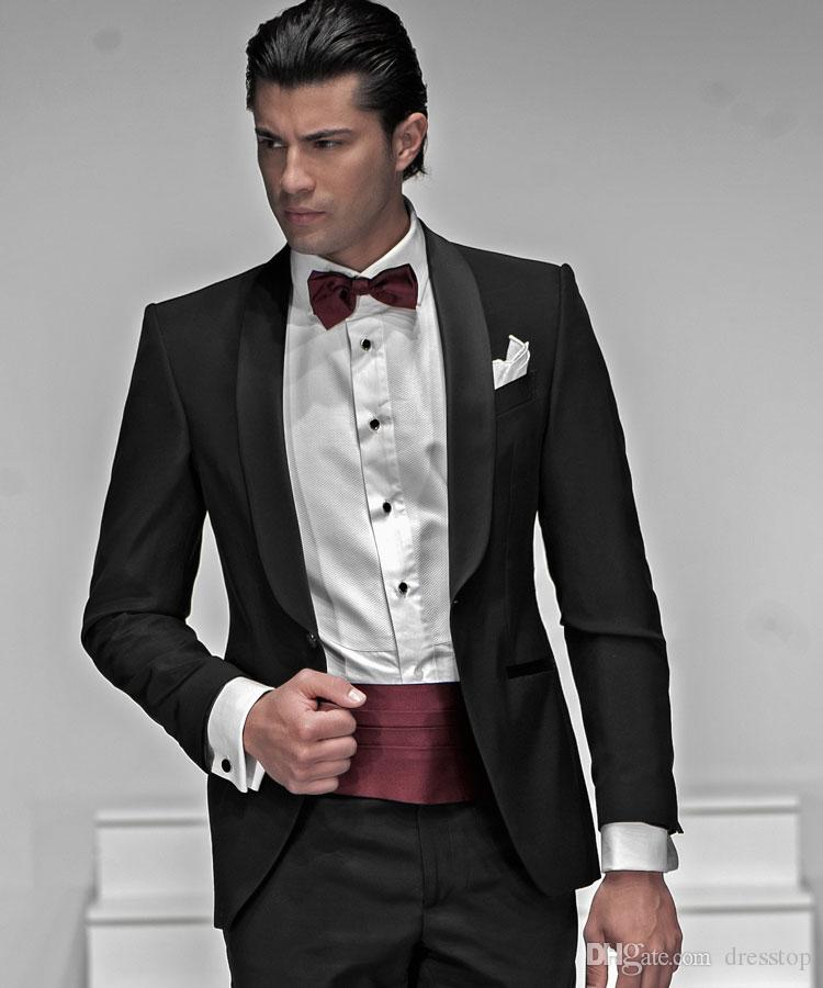 Black Wedding Mens Suits Slim Fit Bridegroom Tuxedos For Men Two Pieces Groomsmen Suit Cheap One Button Formal Business Jackets With Bow Tie