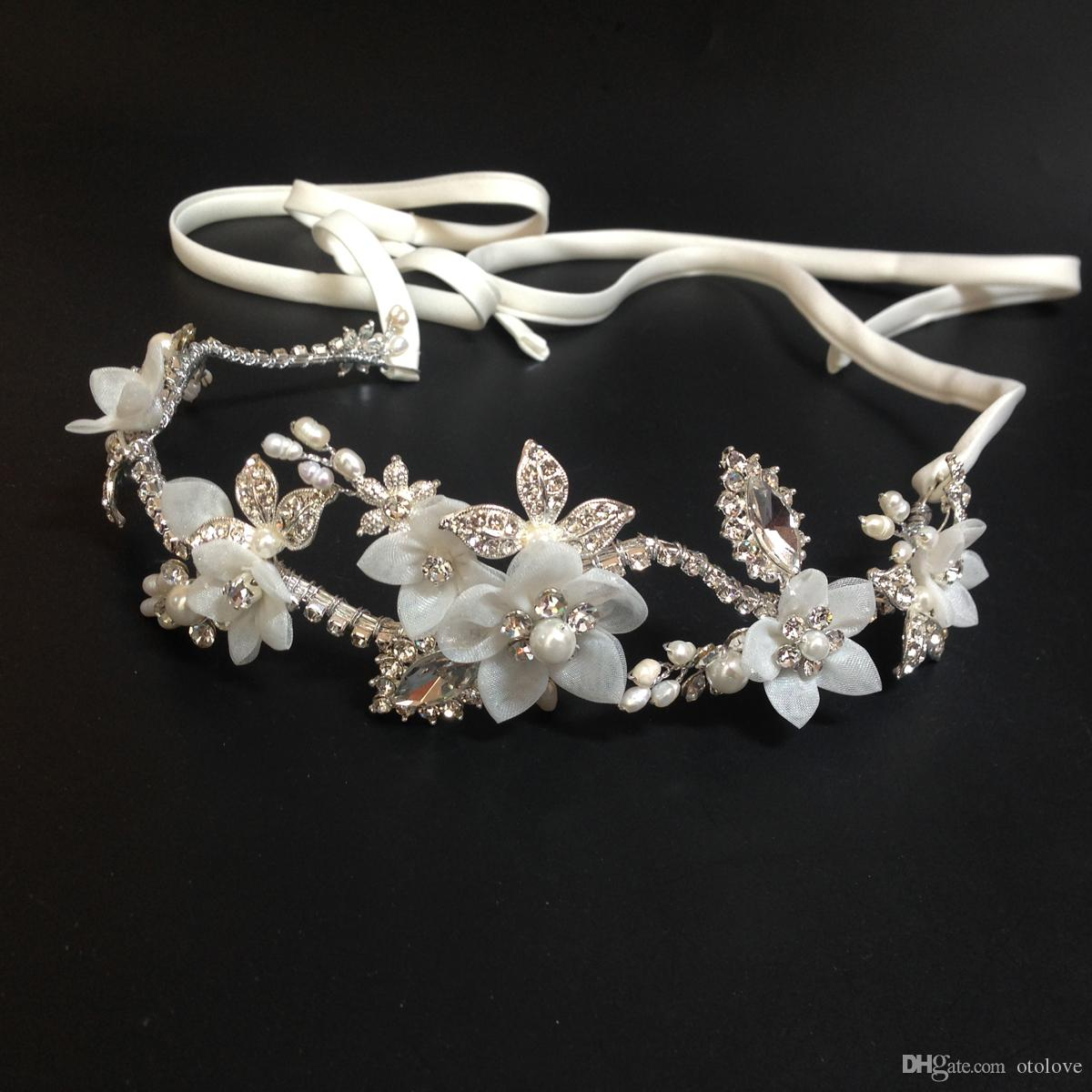 Rhinestone Beaded Wedding Fascinators Handmade White Flower Bridal  Headpiece Crystal Bridal Headband Floral Hair Crown Hair Accessories  Hairpins Kids Hair ... 36b501cfc70