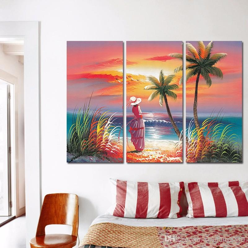 Colorful seascape Seagull Hawaii decoration Coconut tree sexy lady wall art picture poster Canvas Painting living room unframed