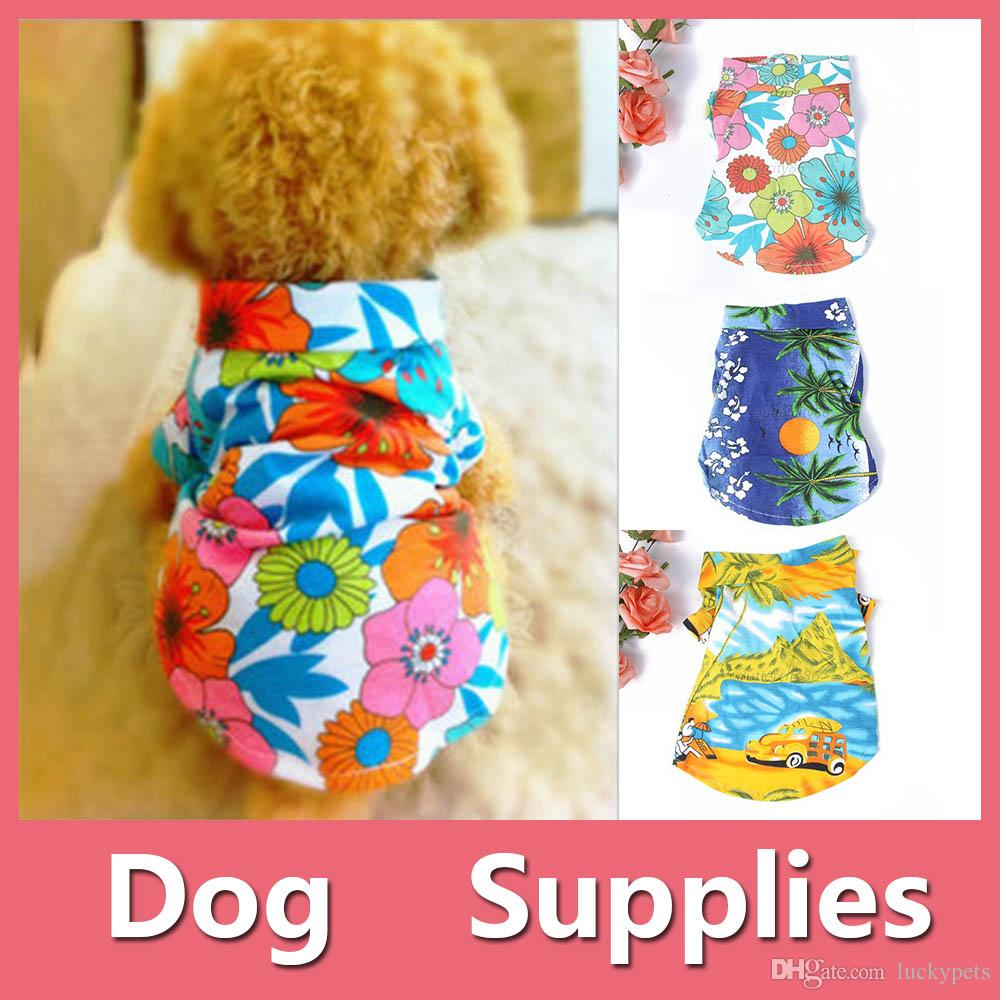 Colorful Cute Summer Pet Dog Puppy Clothes Hawaiian Beach Floral T-Shirt Apparel Costumes XS-XL 5 Sizes