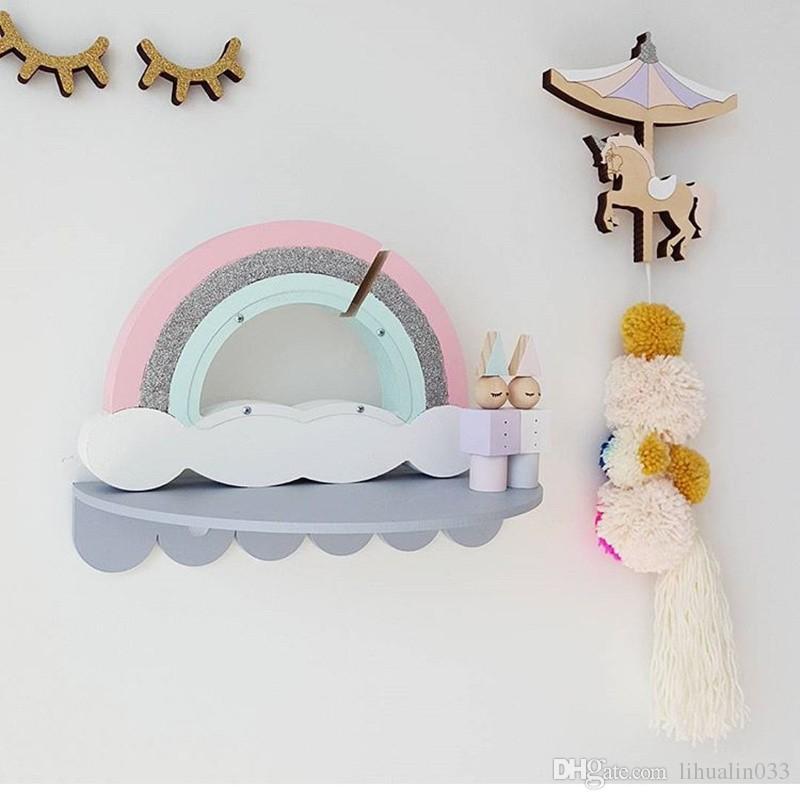 En gros Nouveau Handmake Naturel En Bois Rainbow Nuages Style Jouets Enfants Chambre Décoration Accessoire Tirelire