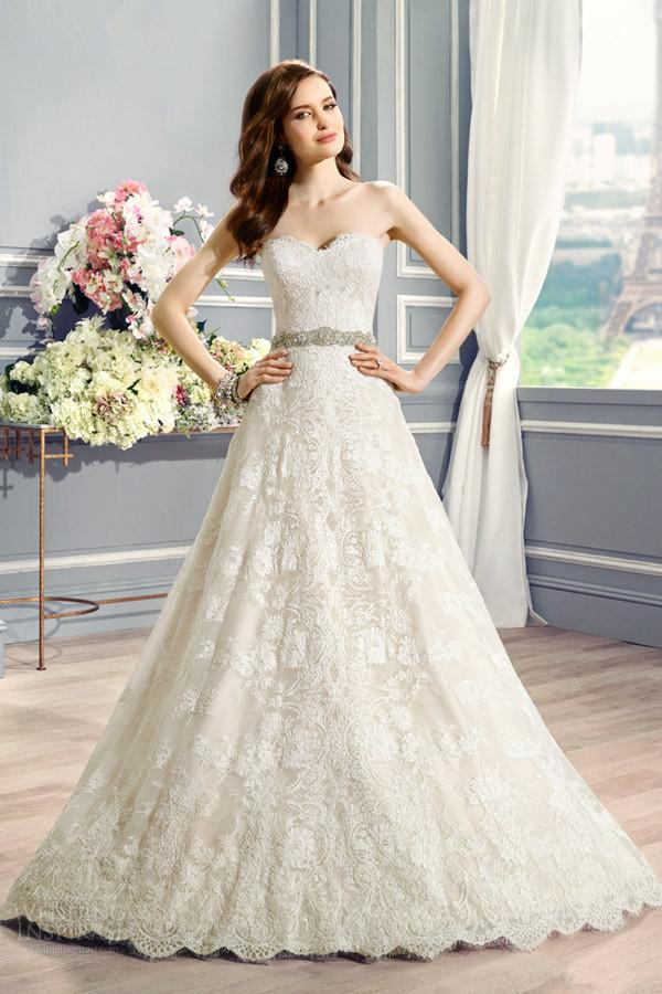 Exquisite Lace Sweetheart Wedding Dresses With Long Train 2015 ...