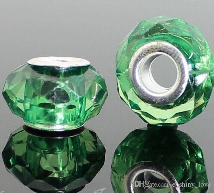 / 로트 녹색면 처리 된 크리스탈 보석 대량 낮은 가격에 팔찌 도매에 대한 느슨한 매력에게 DIY 비즈를 만들기위한 925 큰 구멍 구슬